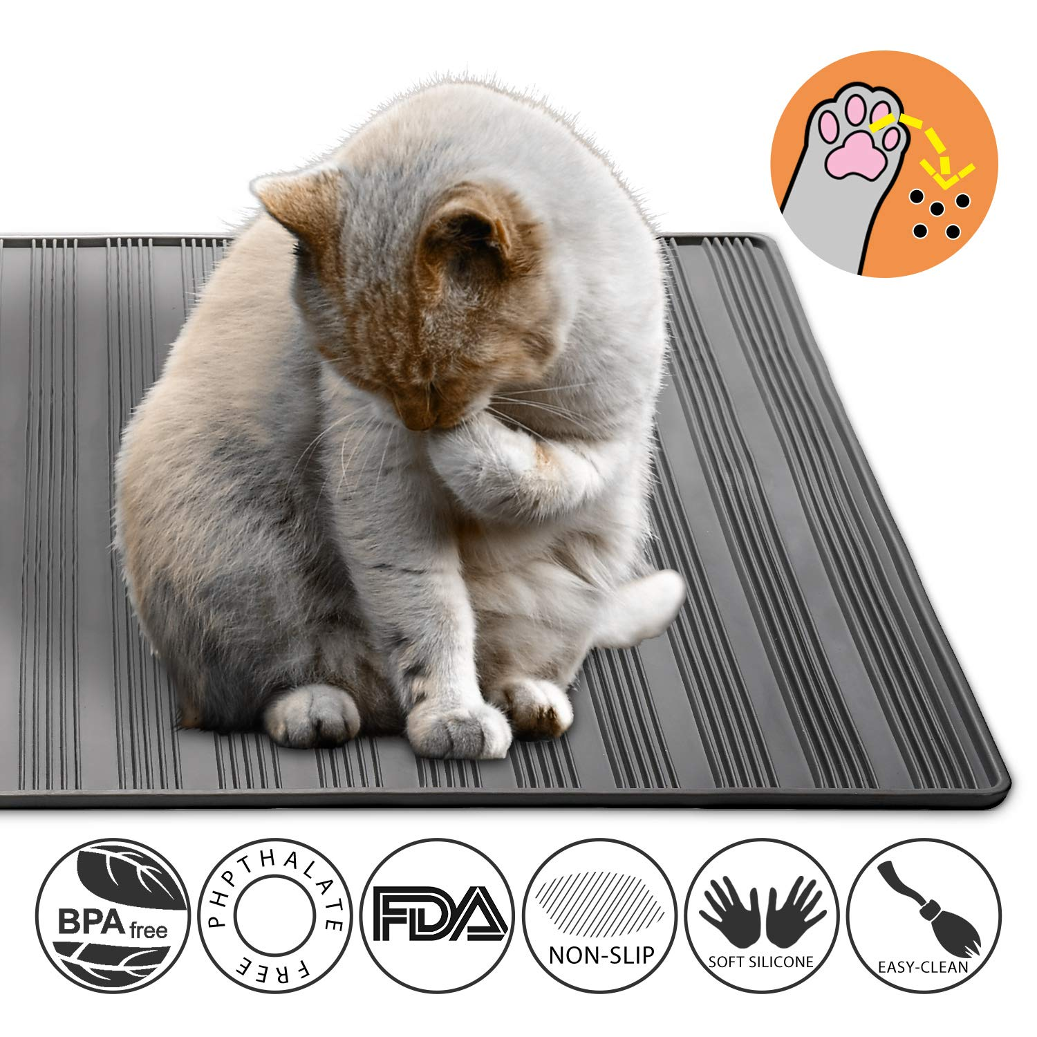 KGA Waterproof Cat Litter Mat Silicone Anti Slip Scatter Control Anti Microbial FDA Grade Silicone Easy Cleaning Cat Litter Trapper