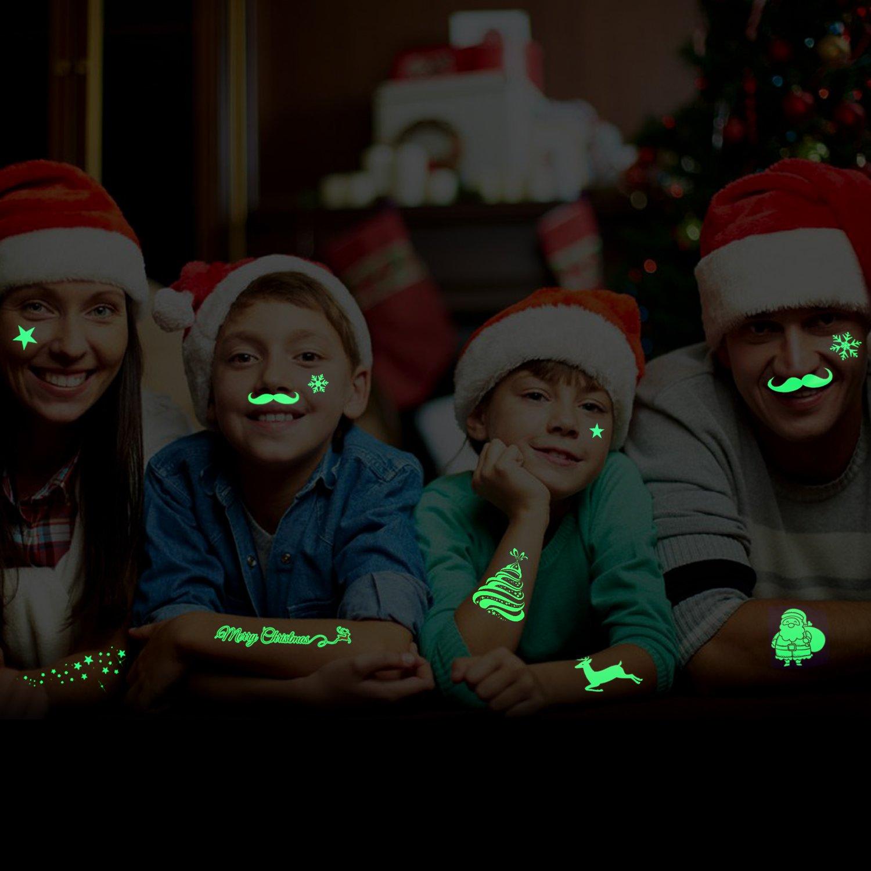 Howaf Glow in the Dark Christmas Tattoos Xmas Party Bag Filler Favor Luminous Christmas Childrens Temporary Tattoos Sticker Fake Tattoos for Kids Girls Boys Christmas Stocking Filler 82Deigns