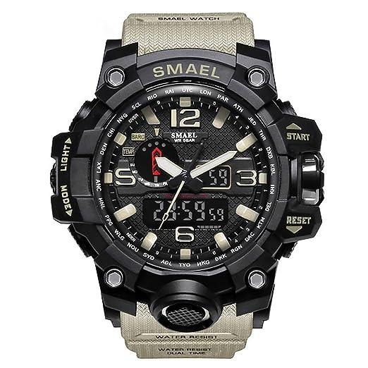 Relojes Hombre Reloj de Pulsera Hombre Reloj Deportivo Militar Reloj Smart Moda Reloj de Pulsera Reloj Pulsera Digital LED-Beige-WCH1545-KQ: Amazon.es: ...