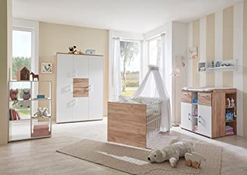Lifestyle4living Babyzimmer, Kinderzimmer, Babymöbel, Komplett Set,  Babyausstattung, Babybett, Wickelkommode
