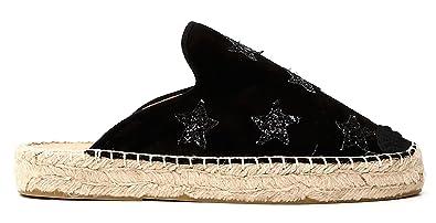 Sabot CAF Noir KGD932 Schuhe in Den Unteren GEWEBEN mit Schwarzem Seil
