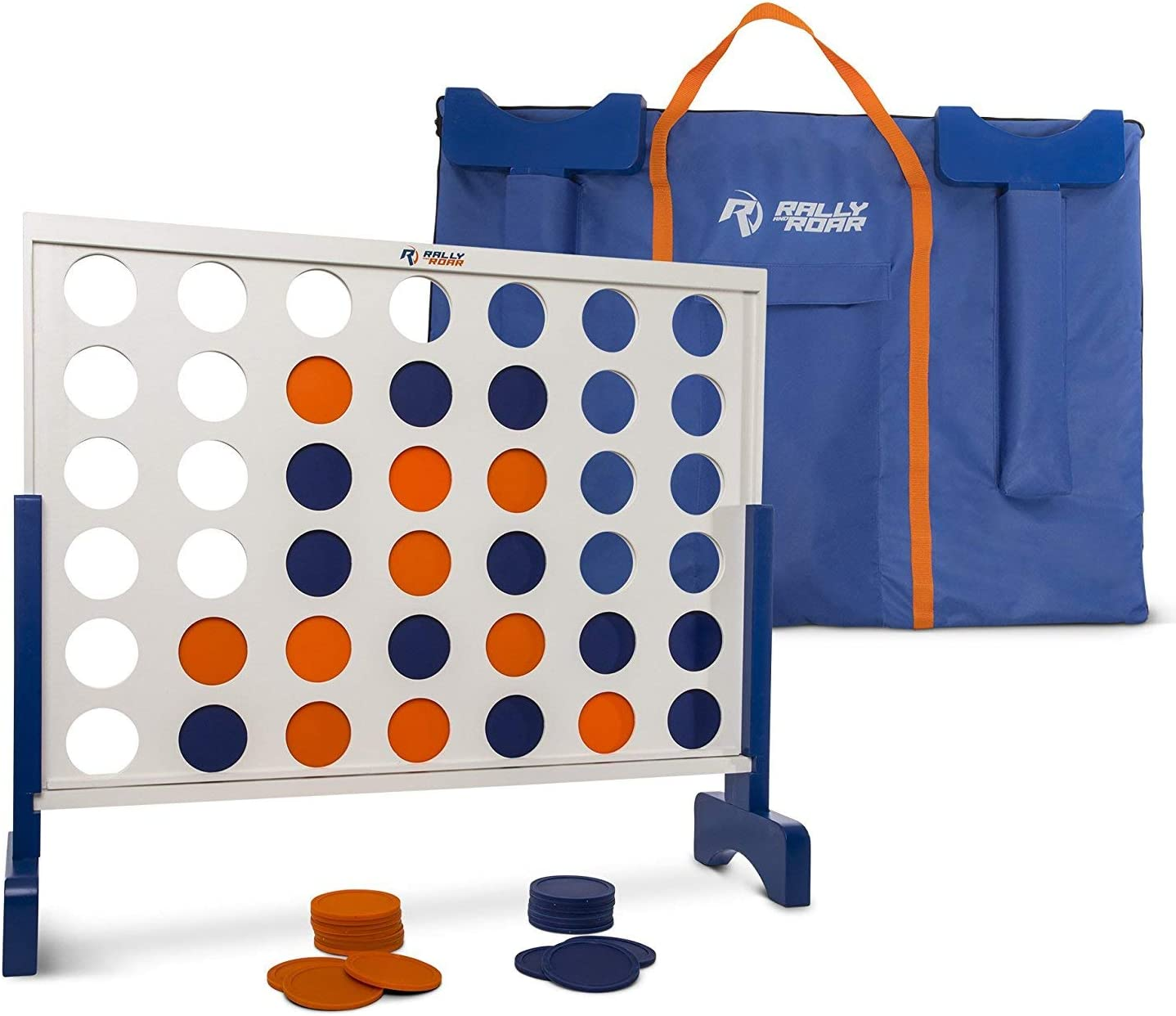 Giant 4 in A Row 3/' CHOOSE 2/' 4 to Score with Bag by Rally and Roar Premium Wooden Four Connect Game Oversized Family Outdoor Party Games for Backyard OR 4/' White OR Wood Grain Lawn Parties
