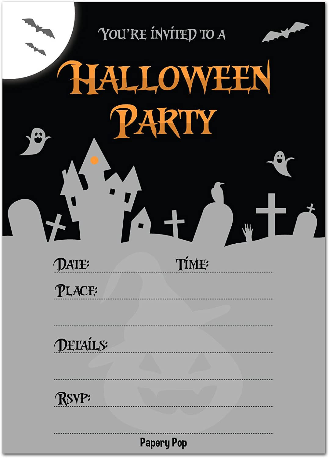 30 Halloween Party Invitations with Envelopes , Halloween Invitations