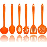 Orange Silicone Cooking Utensils Set – Sturdy Steel Inner Core – Spatula, Mixing & Slotted Spoon, Ladle, Pasta Server, Drainer – Heat Resistant Kitchen Tools - Bonus Recipe Ebook