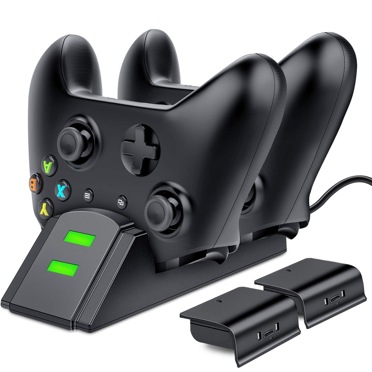 ESYWEN Xbox One Controller Charger Dual Xbox Controller Charging Station with 2X 800mAh Rechargeable Battery Packs for Xbox One/One S/One X/Xbox Elite Controller by ESYWEN