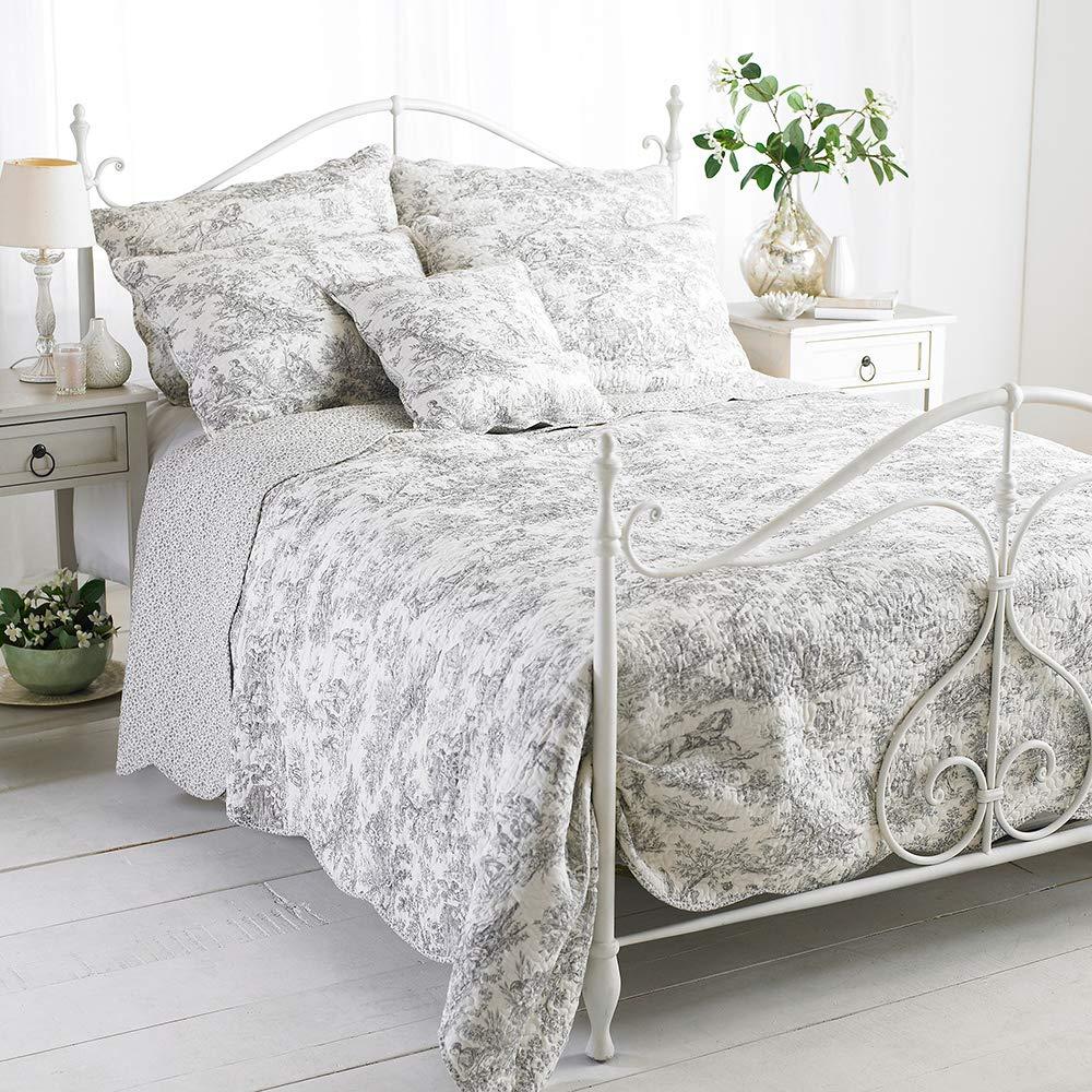 Tagesdecke Canterbury Tales - Baumwolle - gesteppt - Weiß Grau, 265x195cm