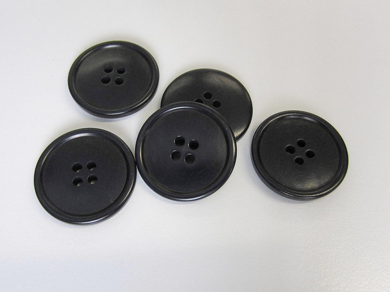 Nachhaltiges 8er Set Zeitlose Ideal als Mantelkn/öpfe hochwertig verarbeitete Steinnusskn/öpfe in schwarz mit Vier L/öchern und schlichtem Rand langlebiges Material Durchmesser: 25mm. 5621sc