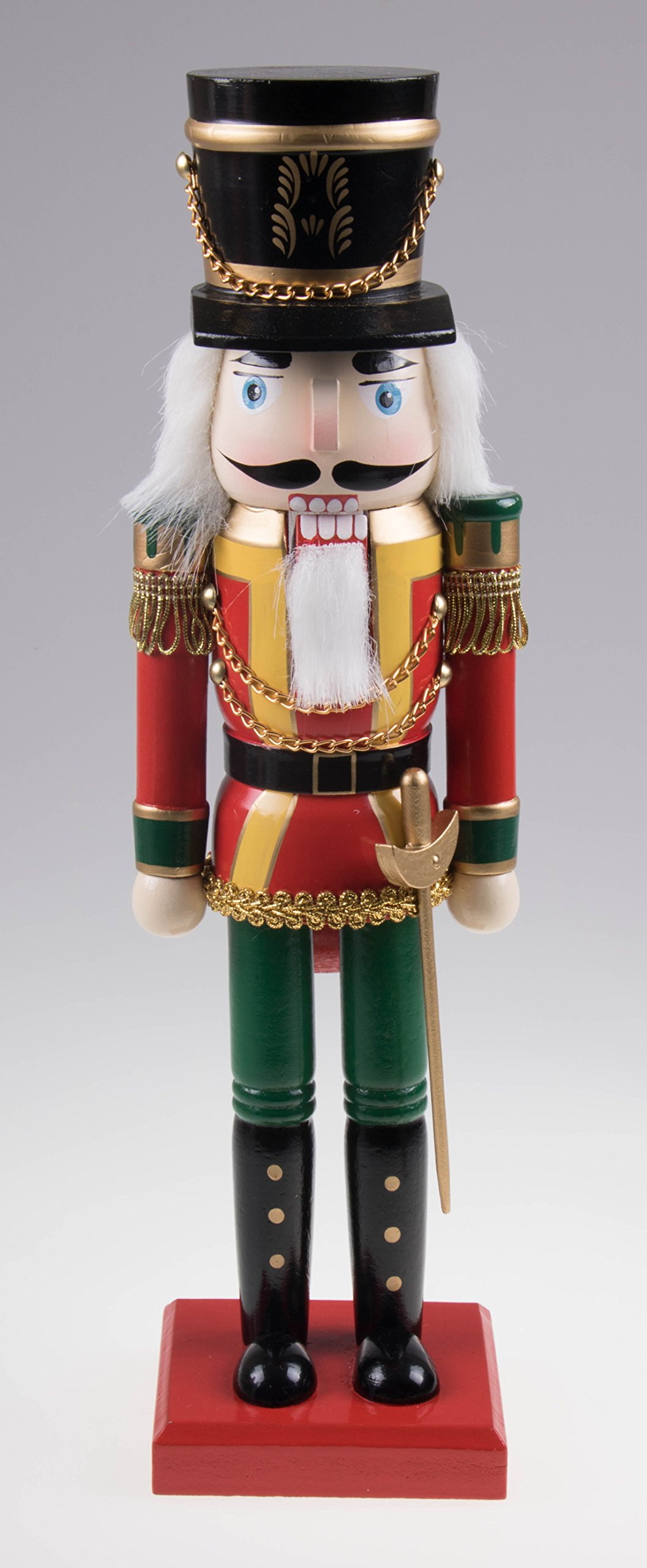 Traditional Wooden Soldier Nutcracker with Sword| Red and Green | Festive Christmas Decor | Classic Collectible Nutcracker | Perfect for Any Decor Theme | 14'' Tall Perfect for Shelves and Tables…