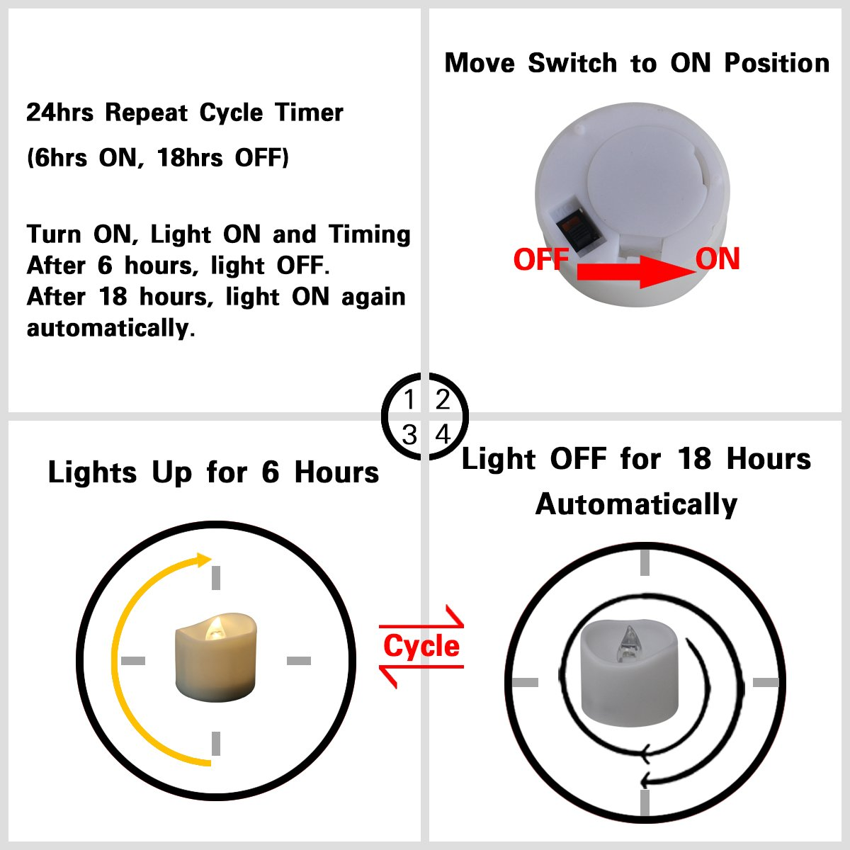 200 Hours Led Mini Tea Light with Timer (6 Hrs On 18 Hrs Off) Flameless Warm White Flickering Fake Votive Candle Wavy Open Rustic Long Lasting Electric Timed Tealights Party Home Wedding Decor 96 PCS by Beauty Collector (Image #9)