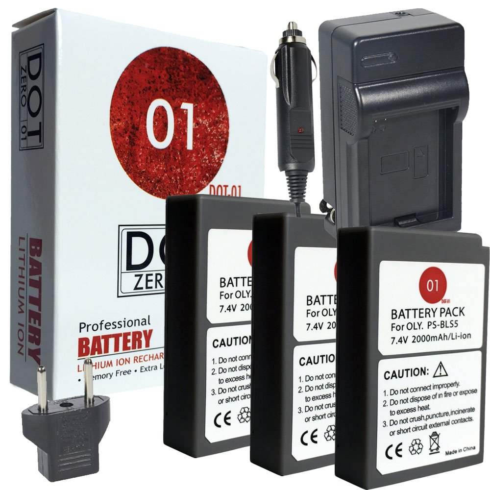 DOT-01 3X Brand Olympus Pen E-PL9 Batteries and Charger for Olympus Pen E-PL9 Mirrorless and Olympus E-PL9 Battery and Charger Bundle for Olympus BLS50 BLS-50