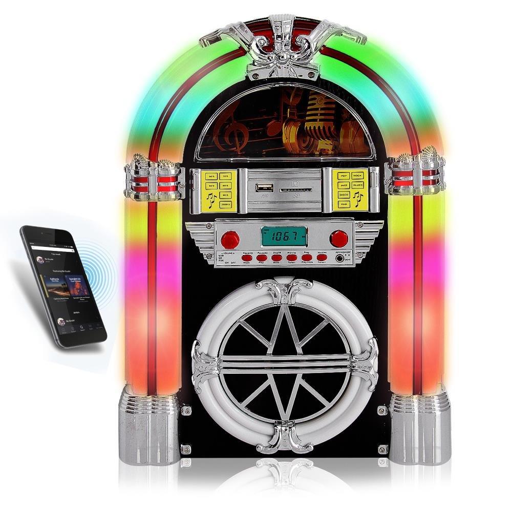Pyle Audio Bluetooth Jukebox MP3 Speaker Player Led Lighting, AM/FM Radio, USB/SD Readers with Aux Input Sound Around PJUB25BT