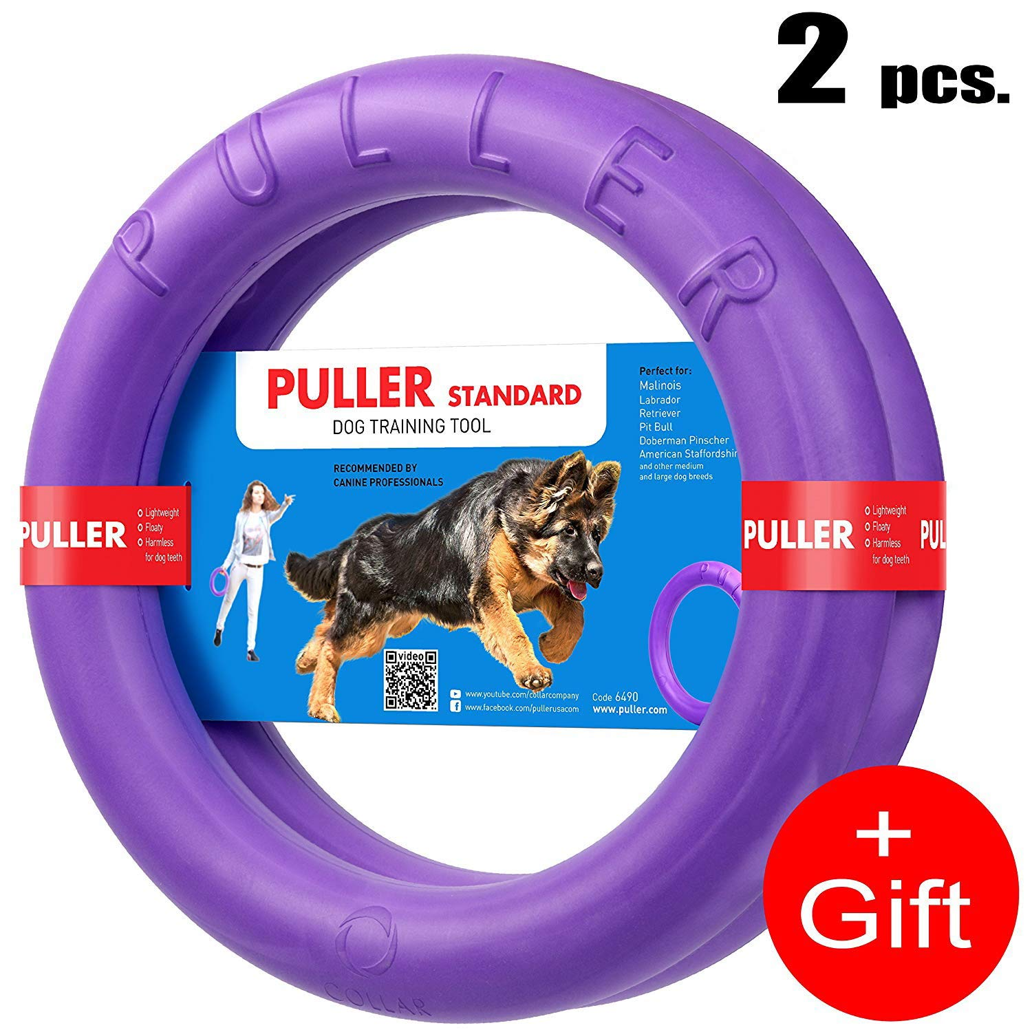 COLLAR Professional Dog Training Equipment and Bonus - Giant Medium K9 Large Dog Training Tool - Dog Supplies - Real Physical and Emotional Load Your Dog (Two Rings for M - L Size Dogs) by COLLAR