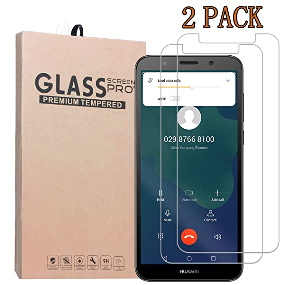 [2-Pack] SHENGSHUO Screen Protector for Huawei Y5 2018, Premium Quality  Tempered Glass Protective Film 0 33mm Anti-Bubble Shield 9H Hardness Clear