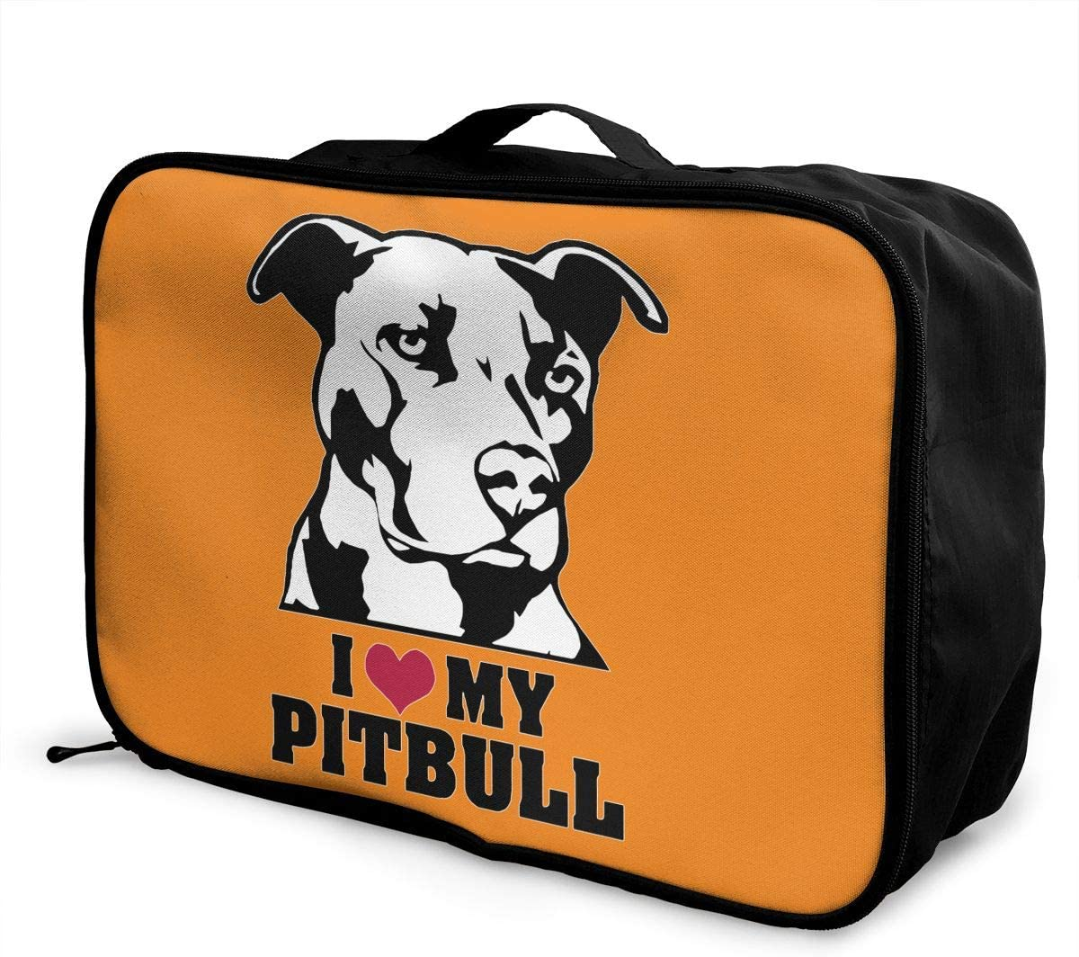 I Love My Pitbull Staffy Terrier Dog Carry Lightweight Large Capacity Portable Outdoor Luggage Trolley Bag