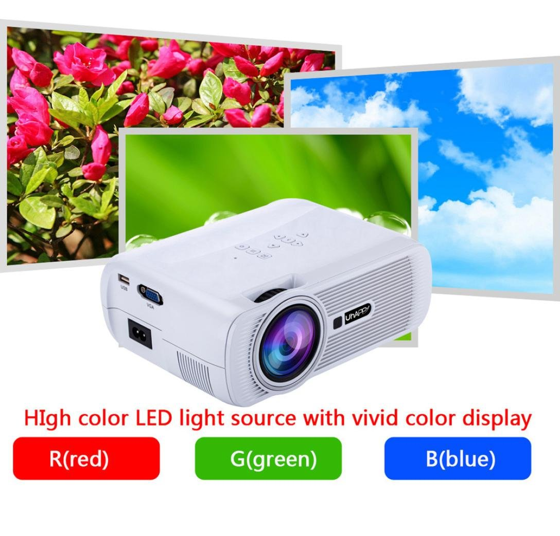 LED HD Micro Home Theater Projector ,Tuscom U80 1000lumens 1080P Multimedia Mini Portable HD Projector (White)