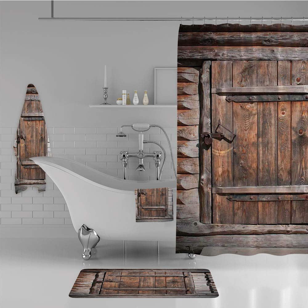 iPrint Bathroom 4 Piece Set Shower Curtain Floor mat Bath Towel 3D Print,Old Barn in Farmhouse Countryside Village Aged,Fashion Personality Customization adds Color to Your Bathroom.