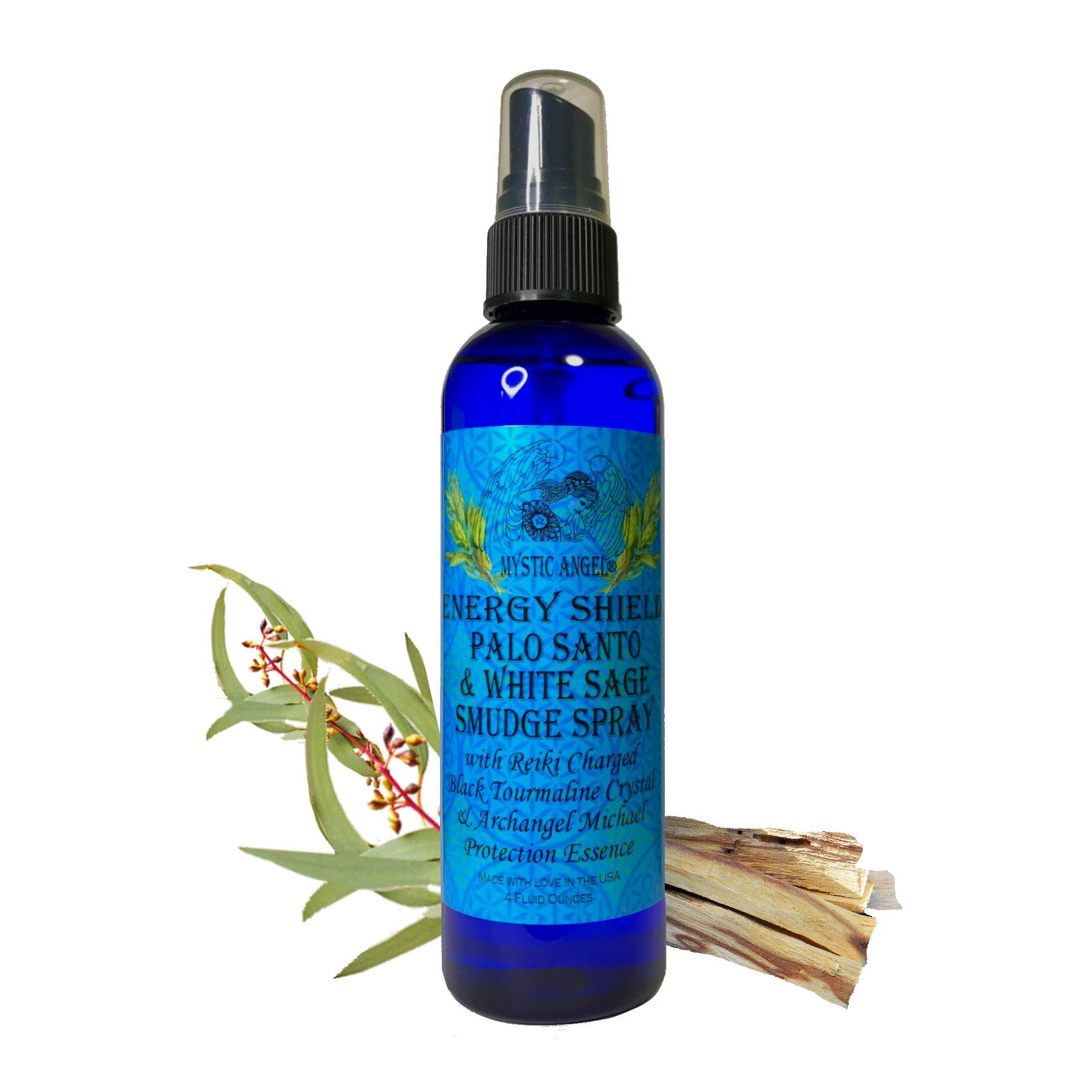 Energy Shield Palo Santo & White Sage Smudge Spray (4 oz.) with with Reiki Charged Black Tourmaline Crystal & Archangel Michael Protecion Essence, Shields Against EMFs, Psychic Attacks, Night Terrors by Mystic Angel