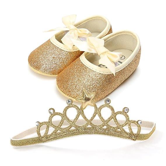 Fossen Recién Nacido Bebe Niñas Zapatos de Brillante Y Diadema