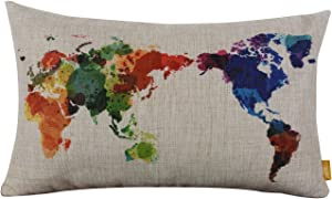 """LINKWELL 18"""" x 11"""" Modern Fashion Watercolor World Map Colorful Burlap Pillow Cases Cushion Covers"""