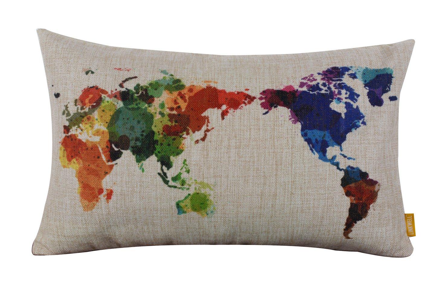 "Amazon.com: LINKWELL 17"" x 17"" Modern Fashion Watercolor World Map ..."