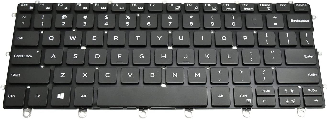 New WPCF9 Genuine OEM Dell XPS 13 9365 2-in-1 Keyboard 82 United States England US ENGLISH M16NSC-UB Backlit Single-Pointing PK131QS1A00 Darfon NSK-EG0BC-01 Multimedia Buttons Low-Profile Quiet Keys