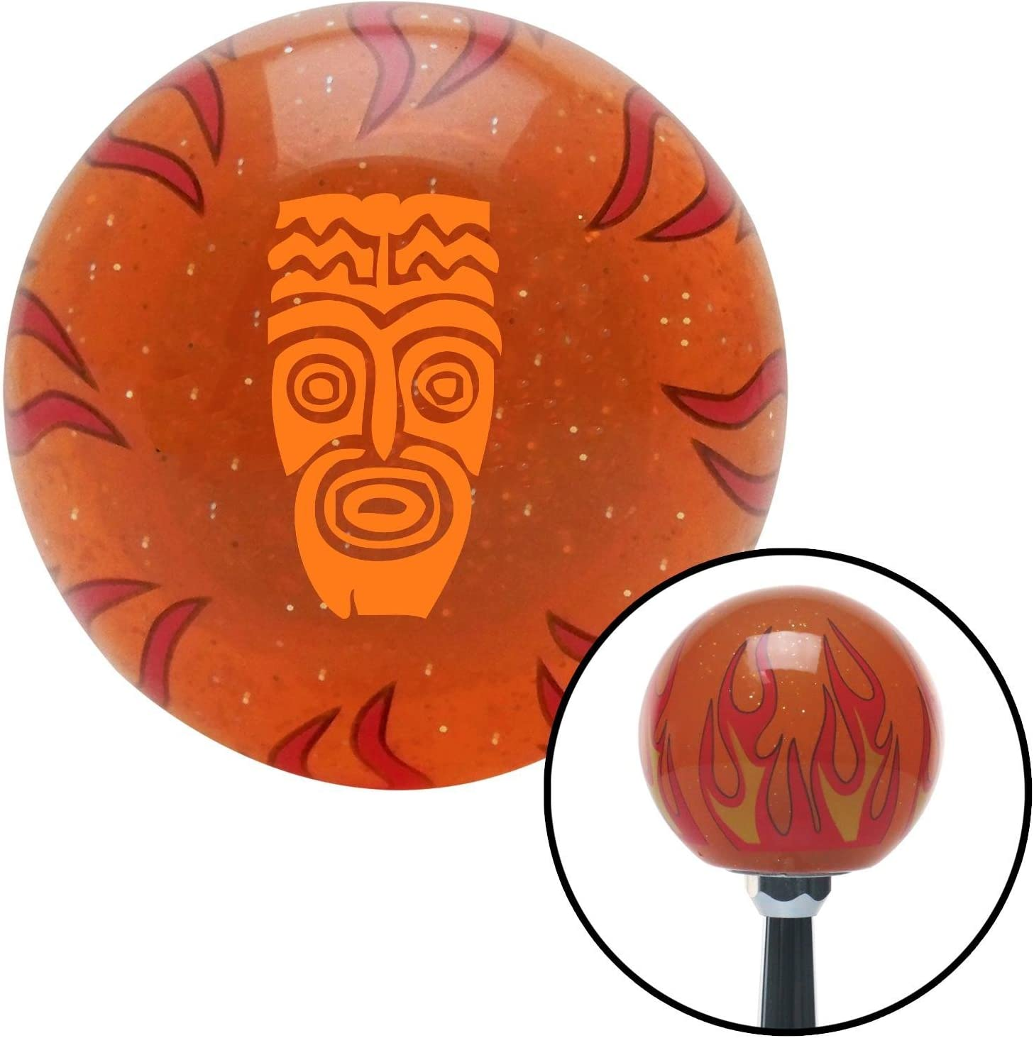 Orange Hawaiian Mask American Shifter 257424 Orange Flame Metal Flake Shift Knob with M16 x 1.5 Insert