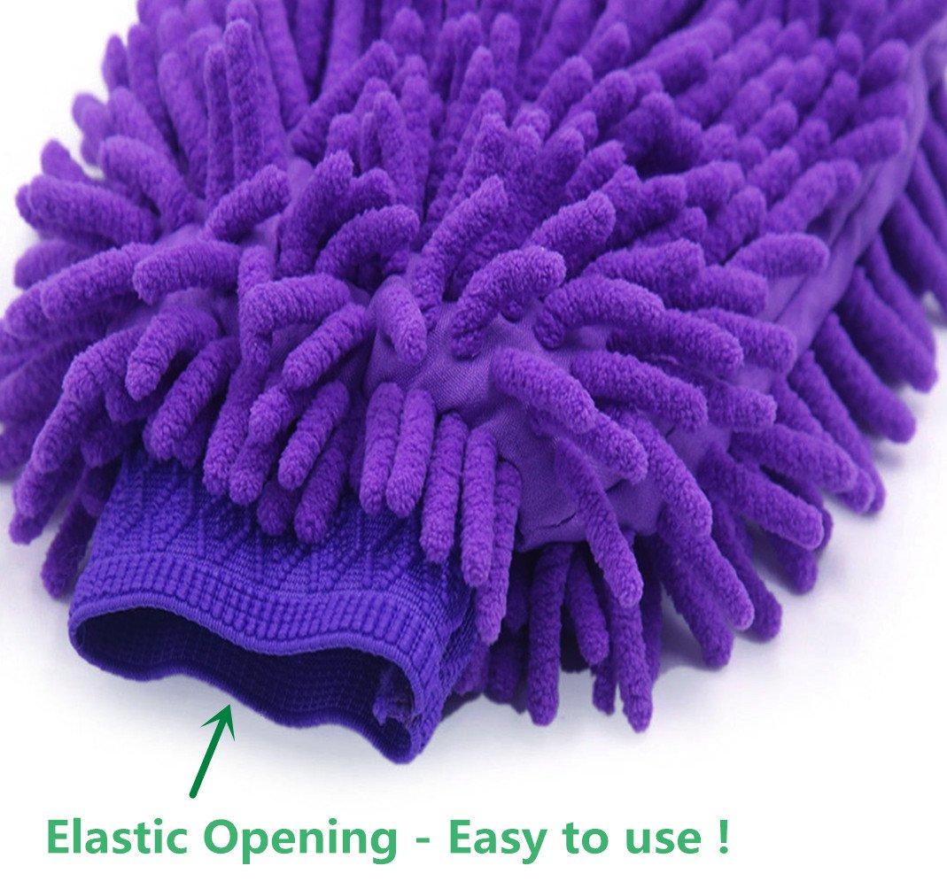 Lint Free 2 Pack Premium Chenille Soft Auto Wash Glove Qbreloh Microfiber Car Wash Mitt Scratch Free Regular Size Glove Mitt with A Car Wash Towel Purple