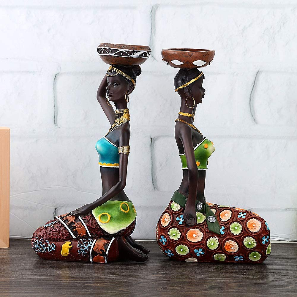 de Oro Escultura Decorativa para Mujer florero centros de Mesa para Comedor Mesa Tribal Lady Estatua Vintage Regalo mu/ñeca Hecha a Mano Baoblaze Figuras africanas