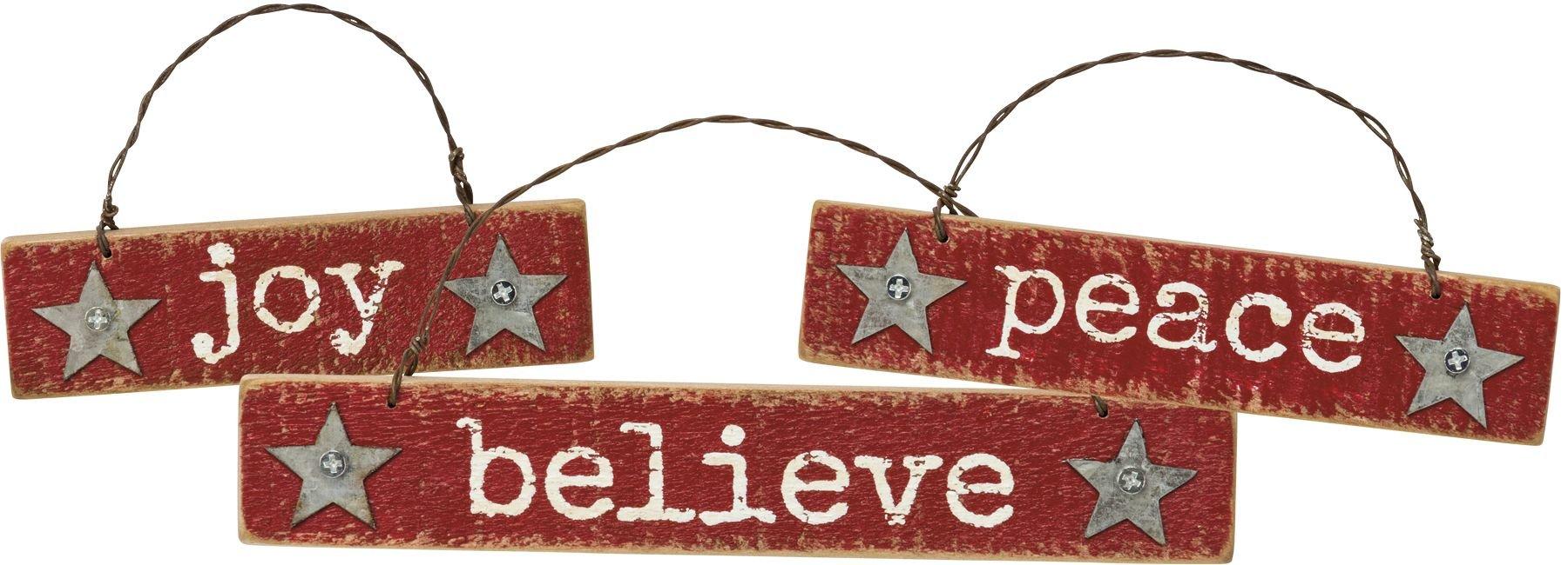Primitives by Kathy Western Christmas 3pk Ornament Set (Joy Peace Believe)