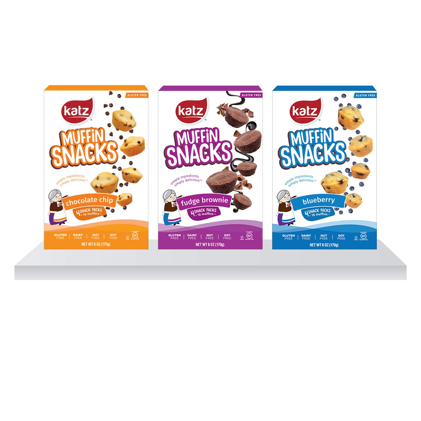 Katz Gluten Free Muffin Snack Variety Pack | Dairy Free, Nut Free, Soy Free, Gluten Free | Kosher (3 Packs of 4 Muffins, 11 Ounce Each)