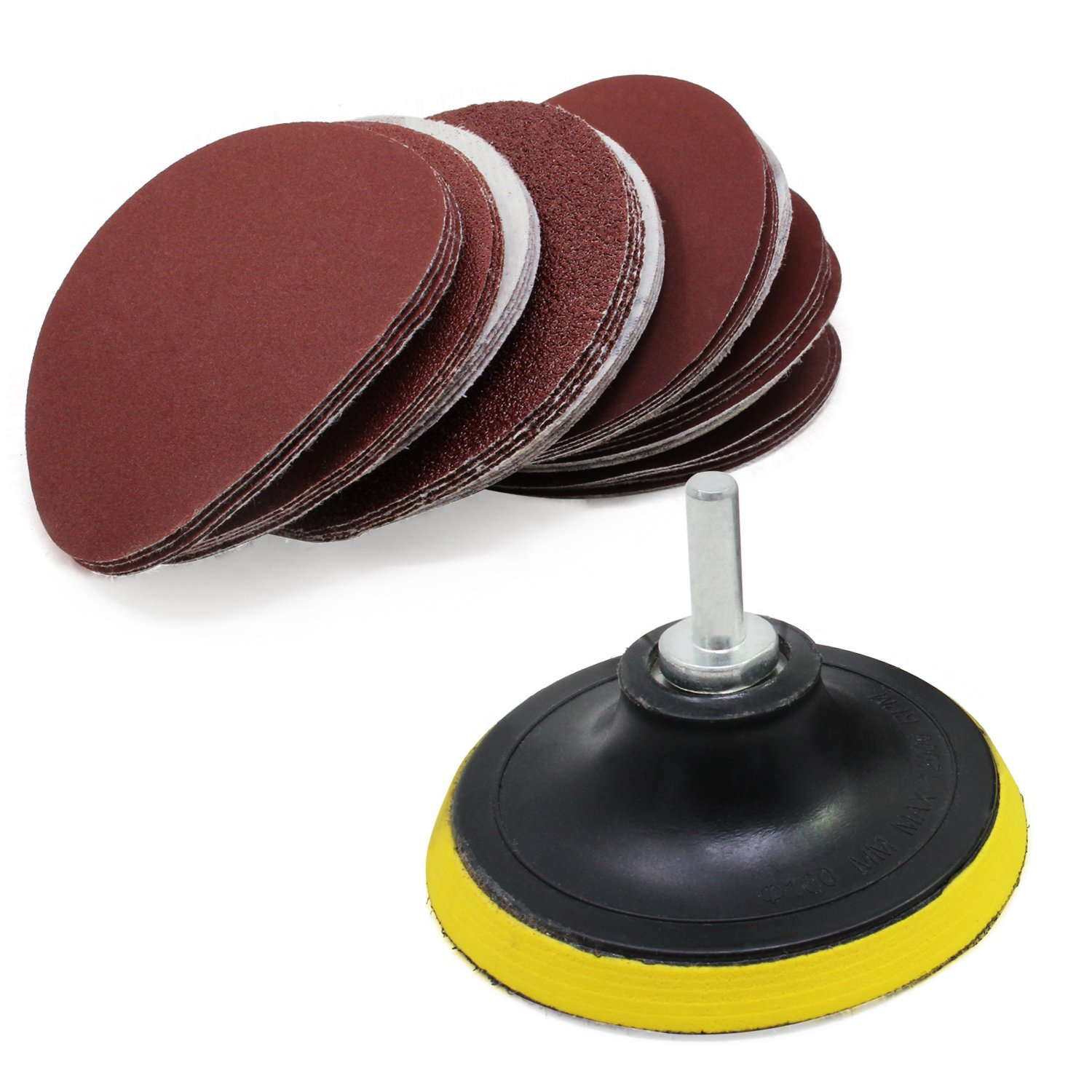 HSeaMall 50PCS 100MM// 4inch Round Sanding Discs Pads Sandpaper Hook and Loop 60 80 100 120 180 240 320 400 600 800 Assorted Grits With Backing Pad Sanding Paper Pads For Random Orbital Sander