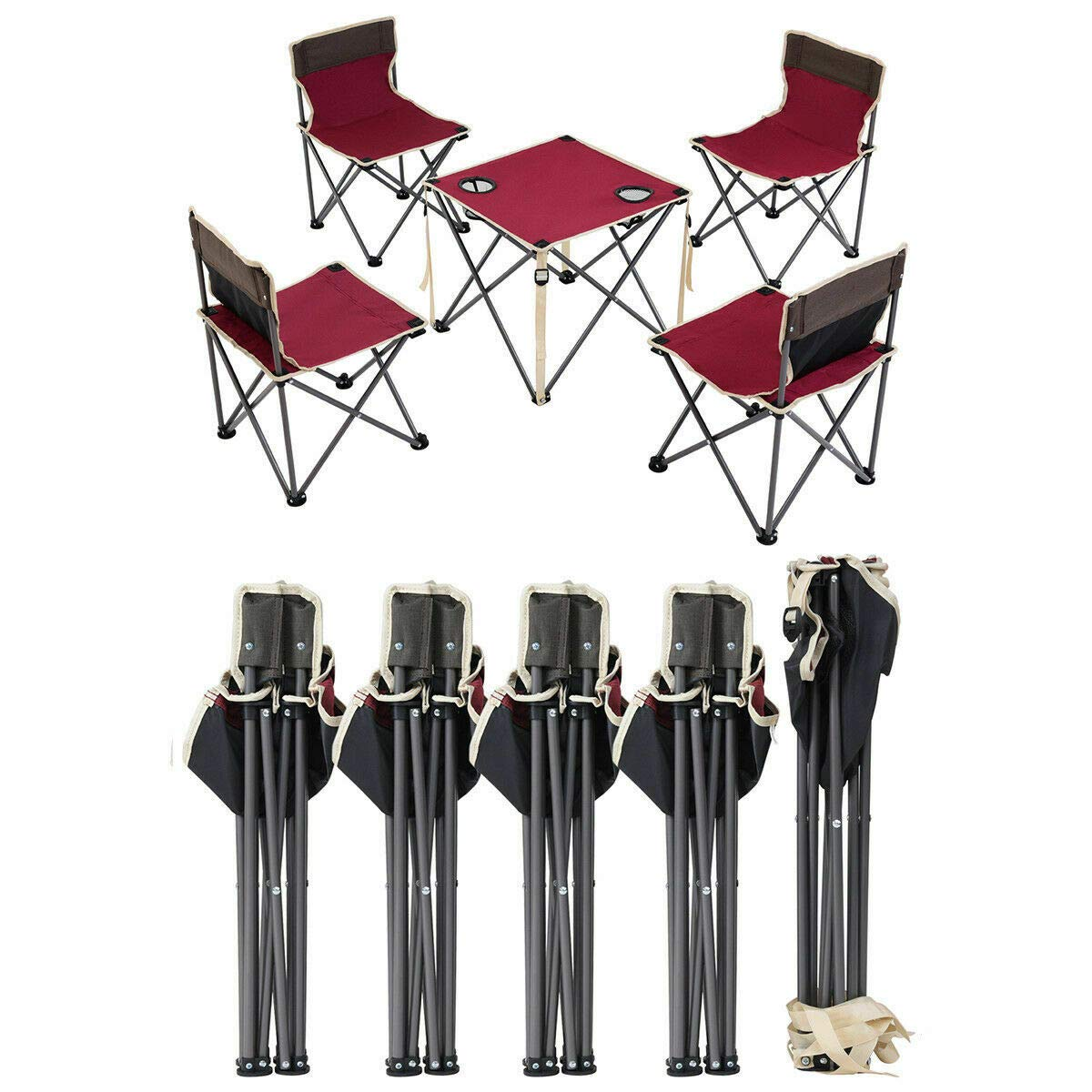 ANA Store Vacations Cookout Party Curl Stand Metal Iron Stell Frame Red Oxford Fabric Portable Folding Table Chairs Set Inside Outside Camp Beach Picnic with Carrying Bag by ANA Store (Image #6)