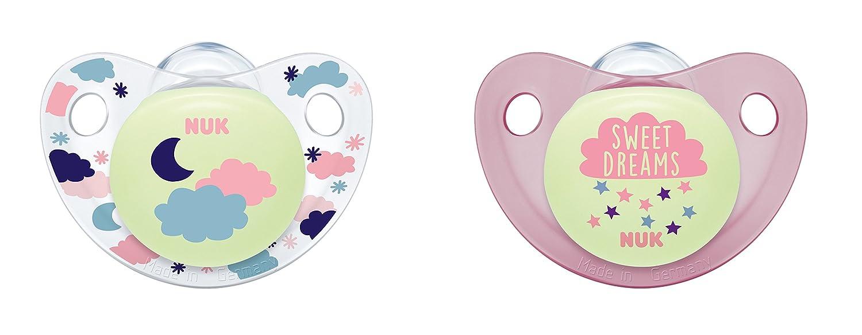 NUK 10175198 Night & Day Silikon-Schnuller, kiefergerechte Form, 0-6 Monate, 2 Stück 2 Stück MAPA GmbH - Baby (VSS)