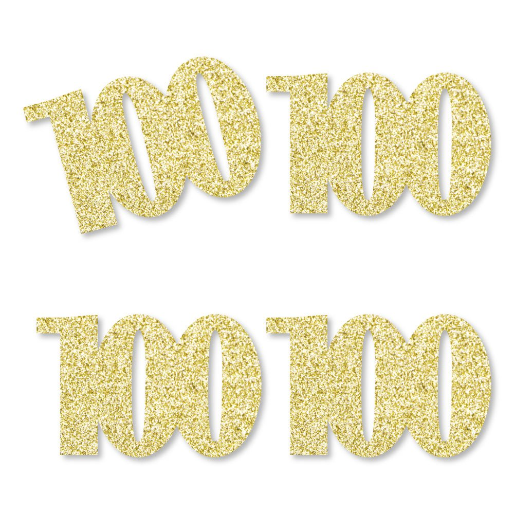 Gold Glitter 100 - No-Mess Real Gold Glitter Cut-Out Numbers - 100th Birthday Party Confetti - Set of 24 by Big Dot of Happiness