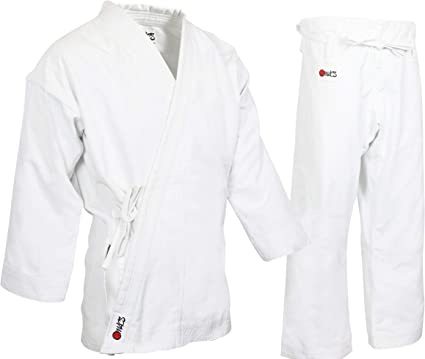 Gi Made of 100/% Brushed Cotton Heavy Weight Karate Uniform Size 4 WHITE 14 Oz