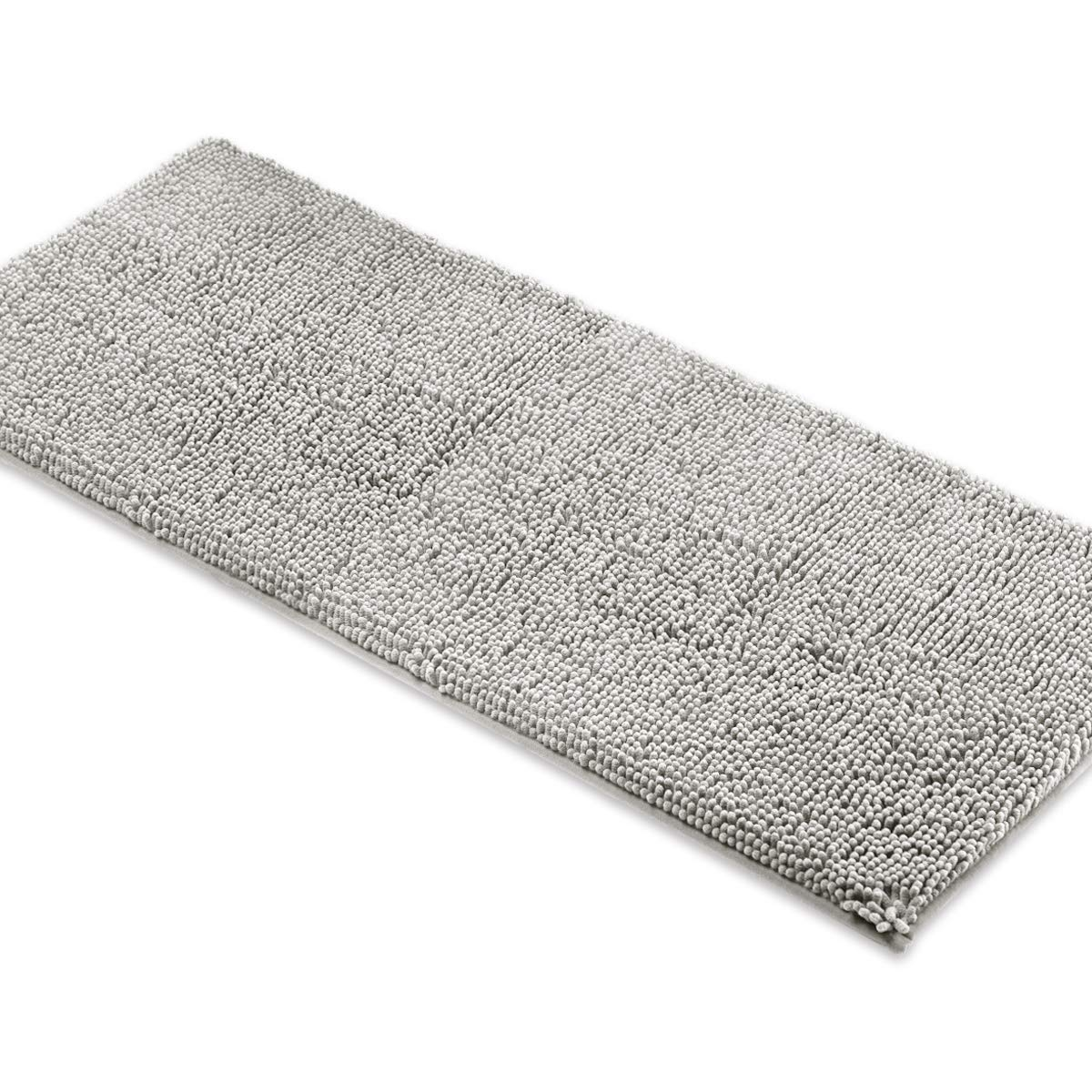 MAYSHINE Bath mat Runners for Bathroom Rugs,Long Floor mats,Extra Soft, Absorbent, Thickening Shaggy Microfiber,Machine-Washable, Perfect for Doormats,Tub, Shower (27.5x47 inches, Light Gray)