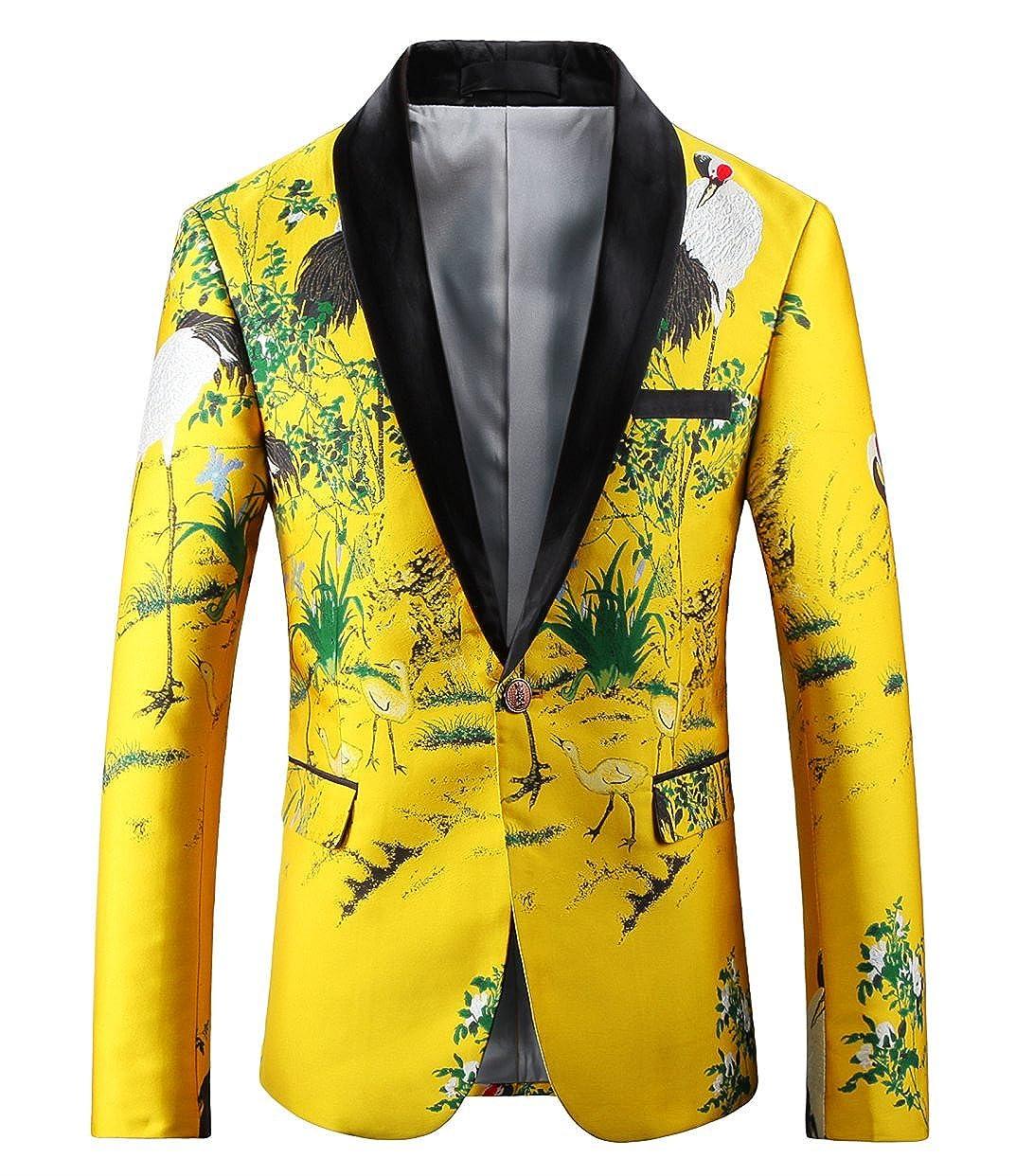 f77e7706b21c4 MOGU Mens Slim Fit Yellow Blazer Printed Sport Coat at Amazon Men s  Clothing store