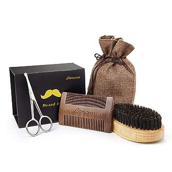 Kit para barba - 4 piezas, peine para barba de madera, cepillo para barba de cerdas de jabalí 100%, tijeras para barba y nariz de regalo.