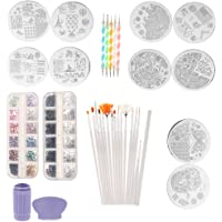 MagiDeal Nail Art Set - 5PCS Dotting Painting Pen, 10PCS Stamping Image Plate, 15Pcs Painting Brush, 2 Bag Rhinestones, 1 Stamper and Nail Paint Pen
