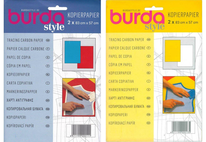 Burda confezione doppia–Tracing carta carbone, 1x blu, 1x rosso + giallo e bianco carta carbone per sarti 83x 57cm, 2fogli