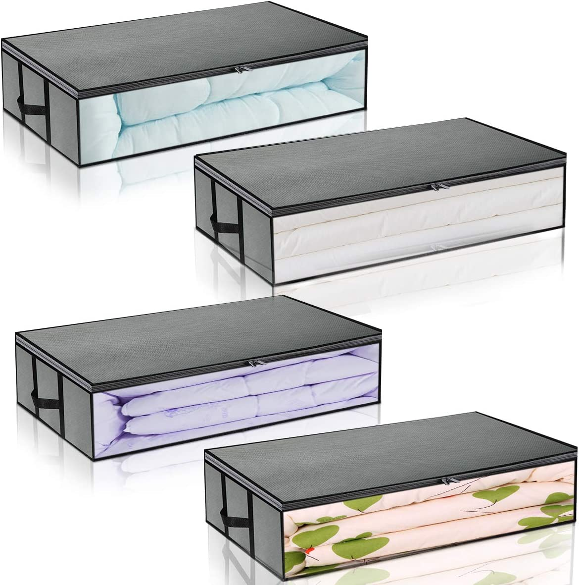 Underbed Storage Bag Foldable Container 4-pack Large Capacity Under the bed Storage Bags with Zippers and Handles Grey Transparent Window
