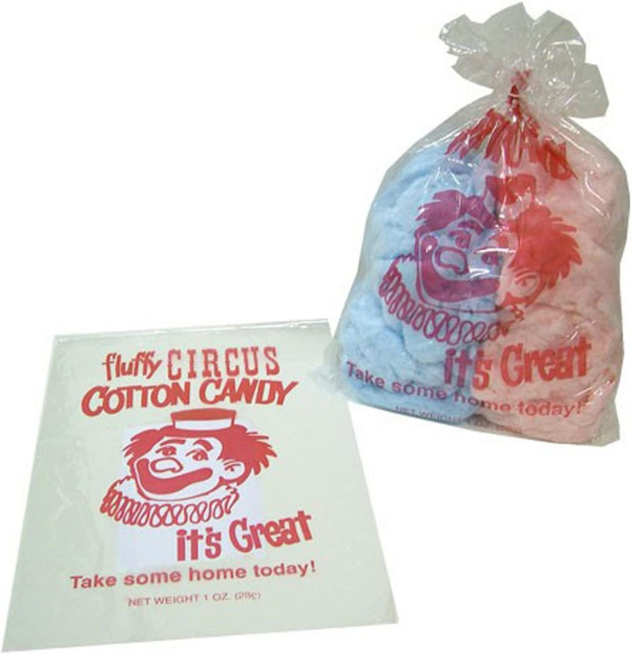 100 Cotton Candy Bags-Circus Clown-Gold Metal New