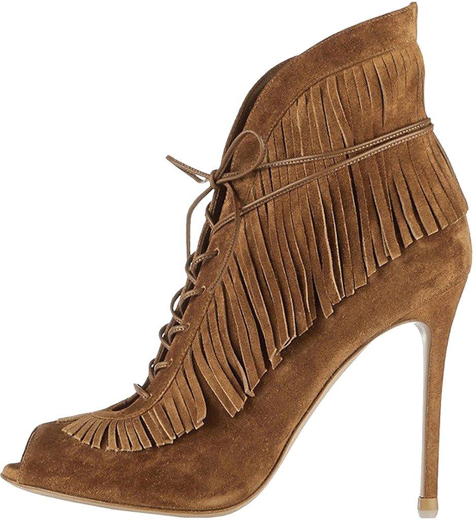 Calaier Mujer Cacrime Tacón De Aguja 12CM Sintético Cremallera Zapatos de Tacón 34|Marrón