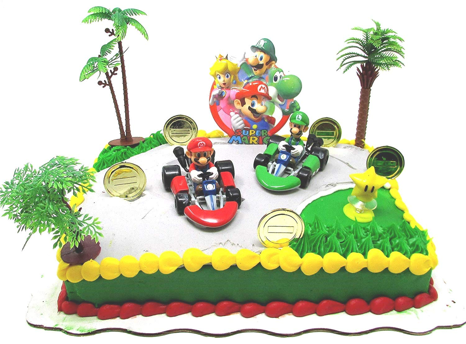 MARIO BROTHERS MARIO KART Racing Themed Birthday Cake Topper Set Featuring Figures and Decorative Themed Accessories