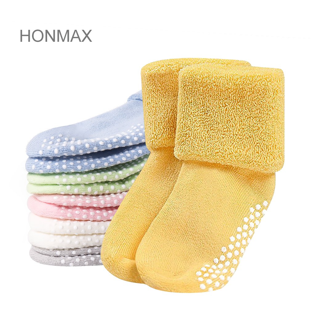 Honmax 6 Pack Baby Anti Slip Socks Unisex Thick Cotton Socks with Grips