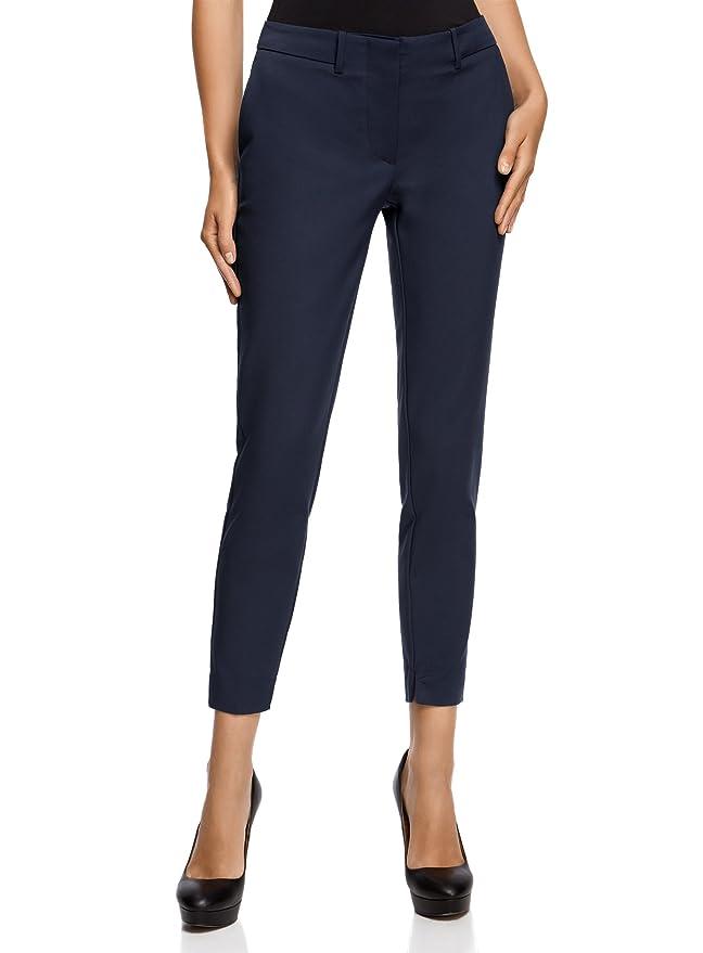 oodji Collection Mujer Pantalones Clásicos Ajustados, Azul, ES 46 / XXL: Amazon.es: Ropa y accesorios