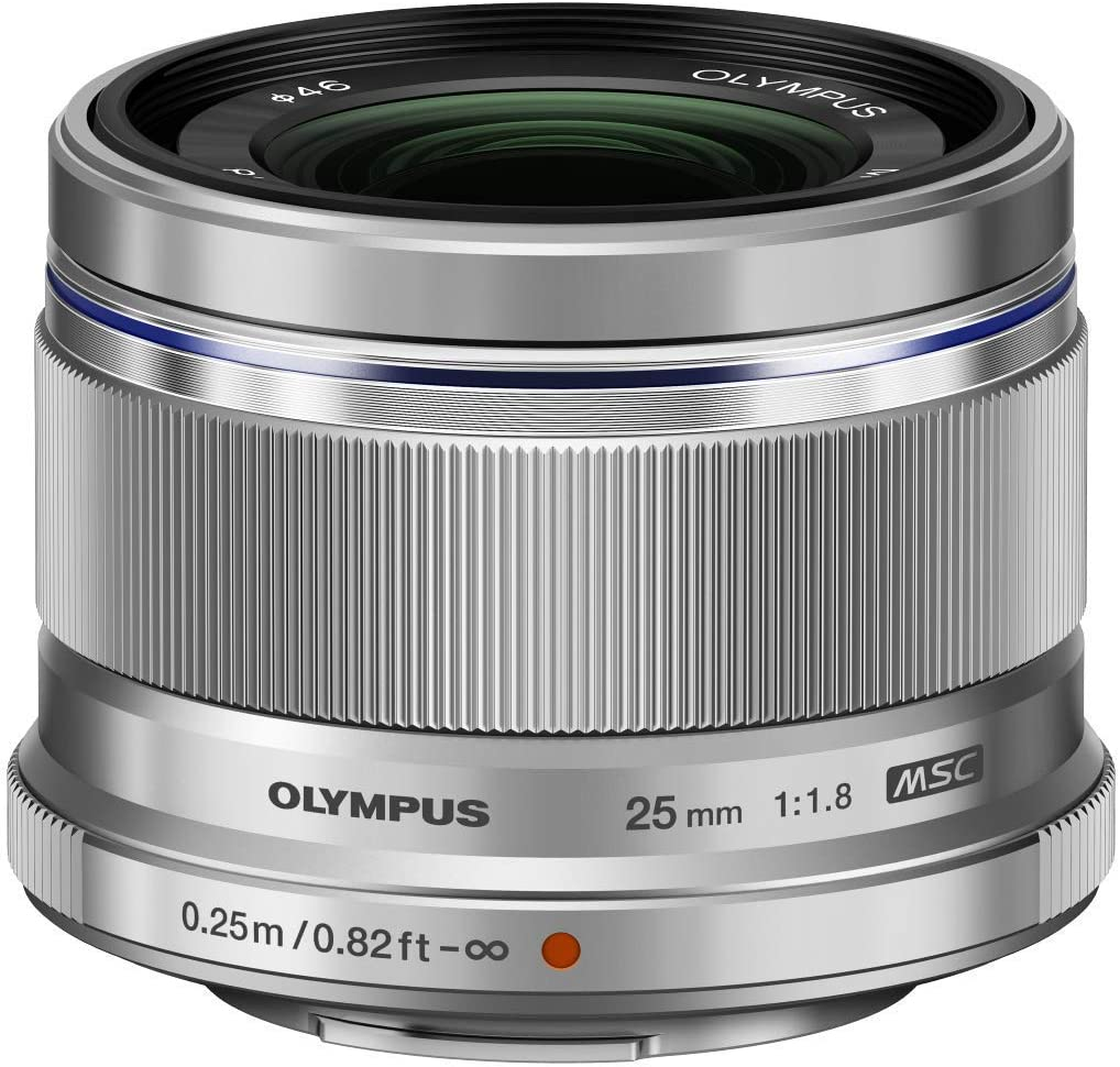 Objetivo Olympus M.Zuiko Digital 25mm F1.8, Longitud Focal Fija rápida, Apto para Todas Las cámaras MFT (Modelos Olympus OM-D & Pen, Serie G de Panasonic), Plata