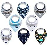 ALVABABY Bandana Drool Bibs 8 Pack Of Drooling Teething Feeding Super Absorbent 100% Cotton Reusable Washable Bibs Unisex For