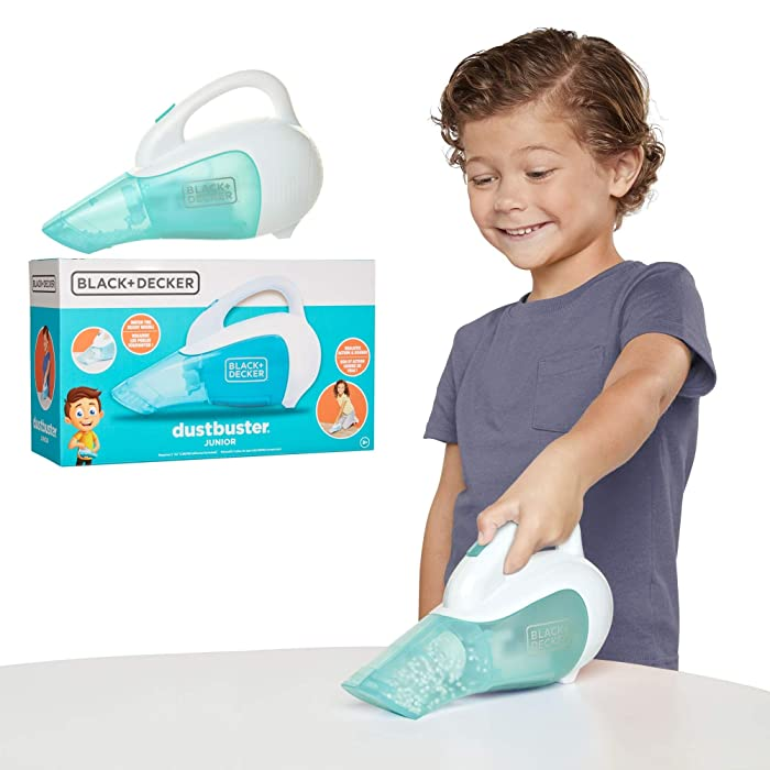 BLACK+DECKER Dustbuster Junior Toy Handheld Vacuum Cleaner with Realistic Action & Sound! Pretend Role Play Toy for Kids with Whirling Beads & Batteries Included [Amazon Exclusive]