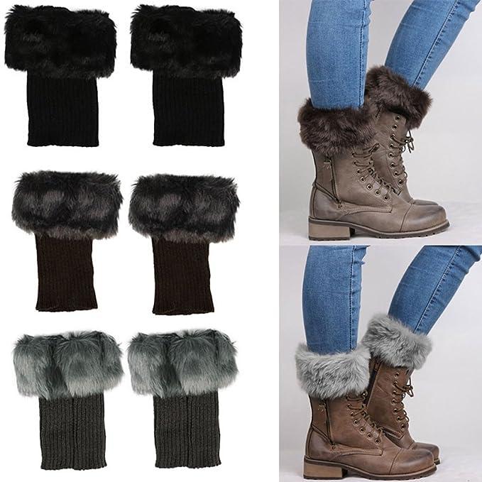 Damen Winter Beinwärmer Stricken Gestrickt Beinstulpen Socken ...